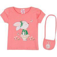 Blusa Bebê Menina Cotton Bunny Acompanha Bolsa Rosa
