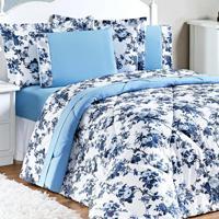 Edredom Enxovais Aquarela Queen Floral Azul 3 Peças Murano