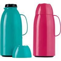 Garrafa Térmica Top Wave 1 Litro Mix Pink Flambe Ou Verde Oasis - Invicta