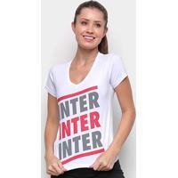 Camiseta Internacional Listras Retrô Mania Feminina - Feminino-Branco