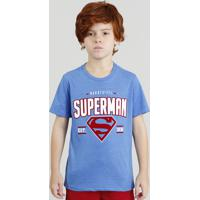 c490a9eee CEA  Camiseta Infantil Super Homem Manga Curta Gola Careca Azul
