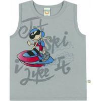 Camiseta Regata Infantil Boca Grande Masculino - Masculino-Cinza