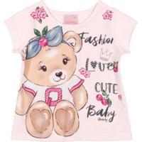 Blusa Bebê Manga Curta Ursinho Rosa