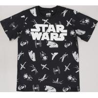 Camiseta Juvenil Stars Wars Estampada Manga Curta Preta
