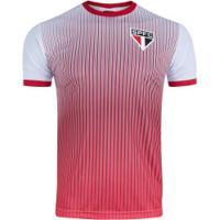 Camiseta Do São Paulo Stripes 19 - Masculina - Branco/Vermelho