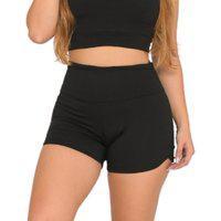 Shorts Cós Alto Moda Fitness Feminino Academia - Cor Preto