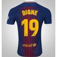 Camisa Do Barcelona I 17/18 Nº 19 Lucas Digne - Masculina - Azul Escuro