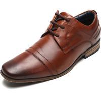 Sapato Social Couro Ferracini Recortes Marrom