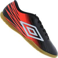 Chuteira Futsal Umbro Hit Ic - Adulto - Preto/Coral