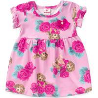 Vestido Bebê Cachorrinho E Flores Rosa - Brandili