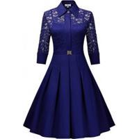 Vestido De Renda Com Saia Rodado E Manga 3/4 - Azul Royal