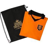 Camisa Holanda Retrô Legends Collection + Sacola - Masculino-Laranja