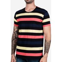 Camiseta Listrada Preta Colors 102405