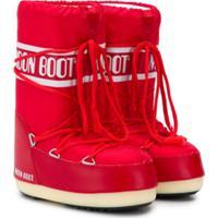 Moon Boot Kids Bota De Neve Com Estampa De Logo - Vermelho