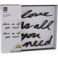 Painel Decorativo Love Is All You Need 41X33Cm Preto