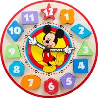 Relógio Em Madeira - Disney - Mickey Mouse - New Toys