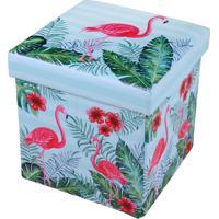 Puff Baú Mini Com Tampa Flamingos 30Cm X 30Cm - Bene Casa