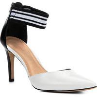 Scarpin Couro Shoestock Salto Médio Gorgorão - Feminino-Branco