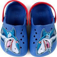 Sandália Babuche Infantil Pé Com Pé Tubarão Masculino - Masculino-Azul+Vermelho