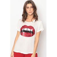 Blusa Com Paetês - Off White & Vermelha- Cavallaricavalari