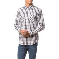 Camisa Ml Ckj Masc Xadrez Etiqueta - Branco 2 - P