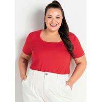 Blusa Vermelha Com Mangas Bufantes Plus Size