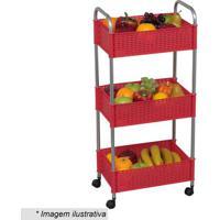 Fruteira Decorativa- Vermelha & Prateada- 69,5X35X22Metaltru