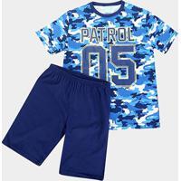 Pijama Infantil Kyly Camuflado Brilha No Escuro Masculino - Masculino-Azul