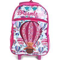6a6f1a20b Netshoes; Mochila Escolar Infantil Pacifc Rodinhas Estampa Balão Verniz  Feminina - Feminino