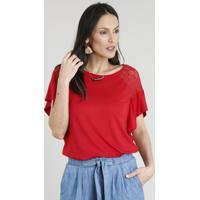 42460917b CEA; Blusa Feminina Com Renda Manga Curta Decote Redondo Vermelha