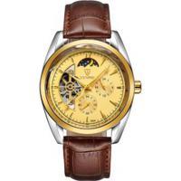 Relógio Tevise 795A Masculino Automático Pulseira Couro Marrom - Dourado