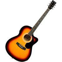 Violão Auburn Music Folk Cutway Sunburst Cordas De Aço Com Equalizador E Afinador