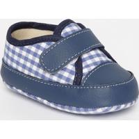 Tênis Com Recortes & Velcro- Azul Royal & Azul Marinhotico Baby