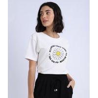 "Blusa Feminina Flowers"" Manga Curta Off White"""
