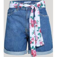 Bermuda Jeans Feminina Cintura Alta Com Faixa Para Amarrar Azul Médio