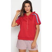 Blusa Com Recortes & Capuz- Vermelha & Roxa- Pacificpacific Blue