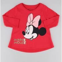 Blusa Infantil Minnie Com Paetê Manga Longa Decote Redondo Vermelha
