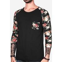 Camiseta 3/4 Raglan Floral 100821