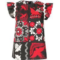 Red Valentino Blusa Estampada - Preto