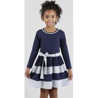 Vestido Infantil Com Recortes E Laço Manga Longa Azul Marinho
