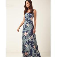 a5bff3047 ... Vestido Zinzane Tecido Longo Detalhe Nó Estampa Lorena -  Feminino-Verde+Azul
