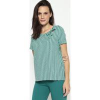 Blusa Geométrica Com Amarração - Verde Água & Pretamalwee