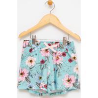 Short Infantil Floral - Tam 5 A 14