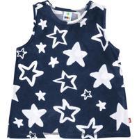 """Blusa """"Estrelas"""" - Azul Escuro & Brancapuc"""