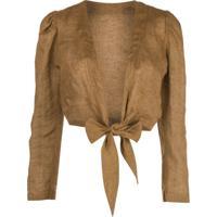 Lisa Marie Fernandez Pouf Long Sleeved Blouse - Marrom