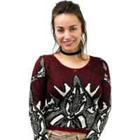 Blusa Morena Rosa Cropped Tricot Feminino - Feminino-Vinho
