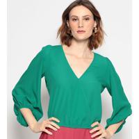 Blusa Com Transpasse - Verde - Chocoleitechocoleite