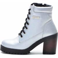 Bota Cano Curto Em Couro Atron Shoes Prata