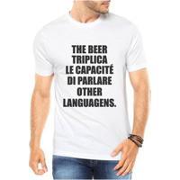 Camiseta Criativa Urbana The Beer Triplica Cerveja Masculina - Masculino-Branco