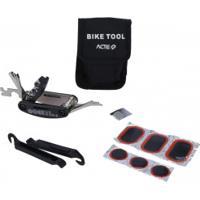 Kit De Ferramentas Para Bicicleta Acte Sports A4 Com 5 Tipos De Chaves, Remendo De Câmera E Bolsa - Preto